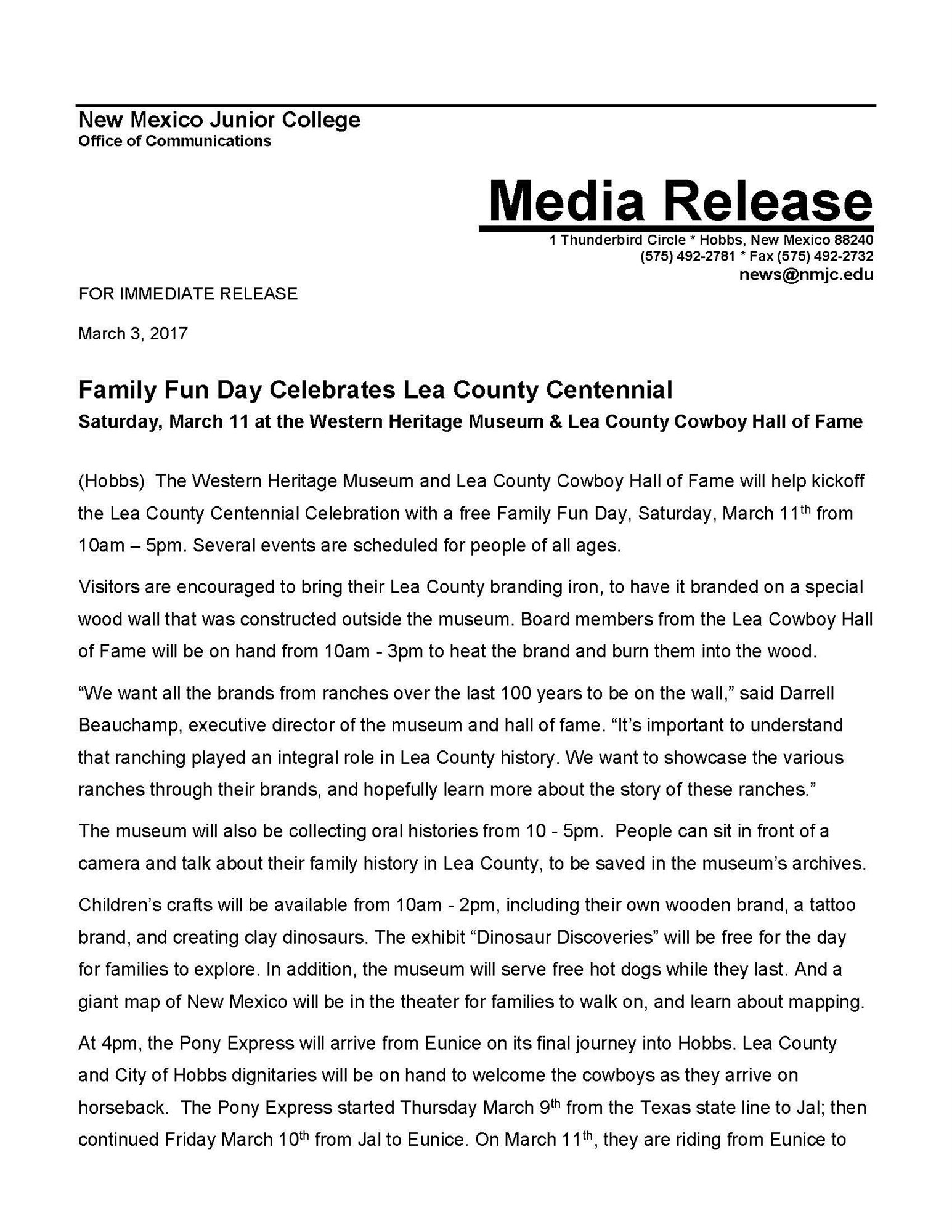New mexico lea county eunice - Family Fun Day Media Release